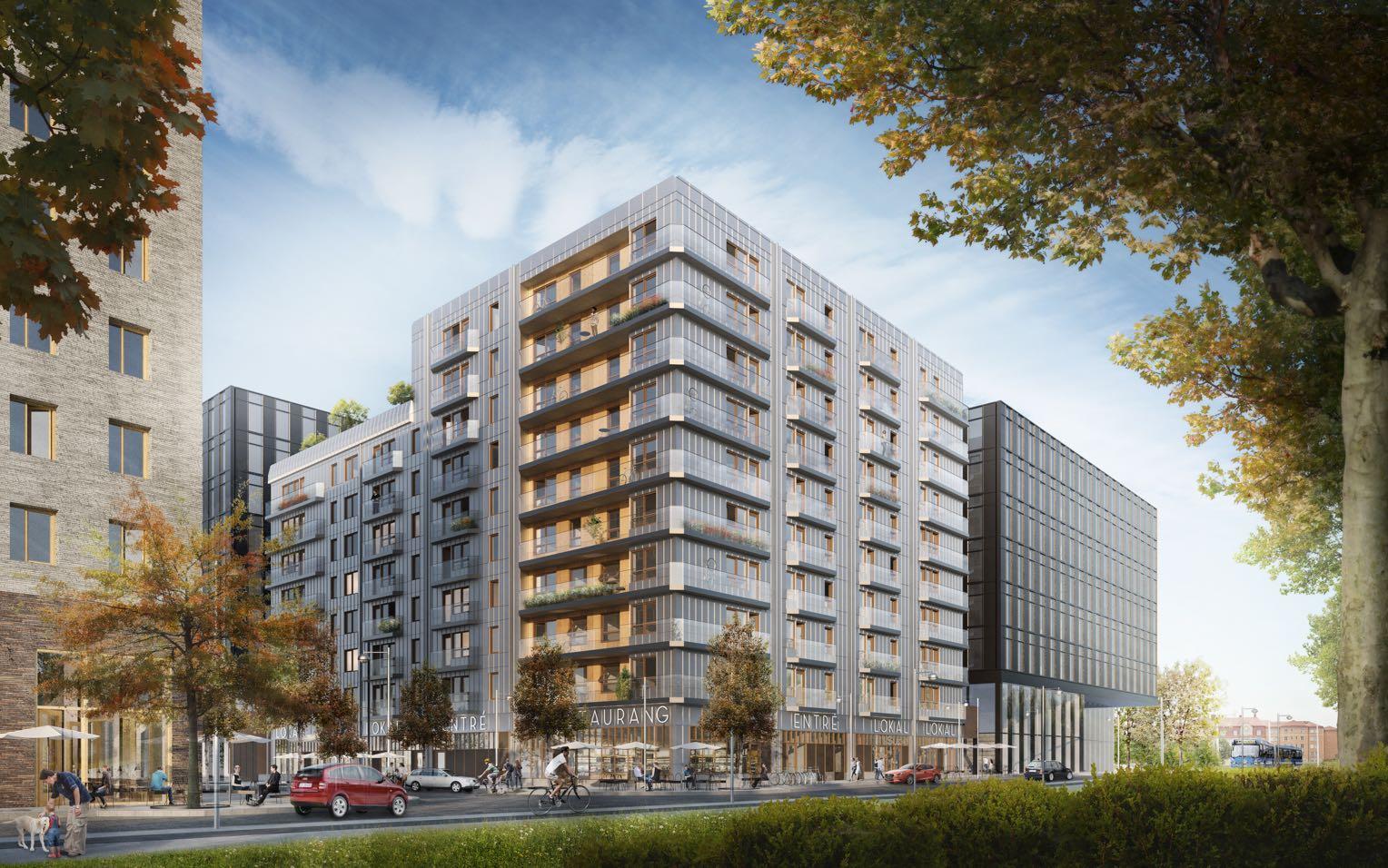 Bild på Aros nya bostäder samt K11 i Järva Krog.