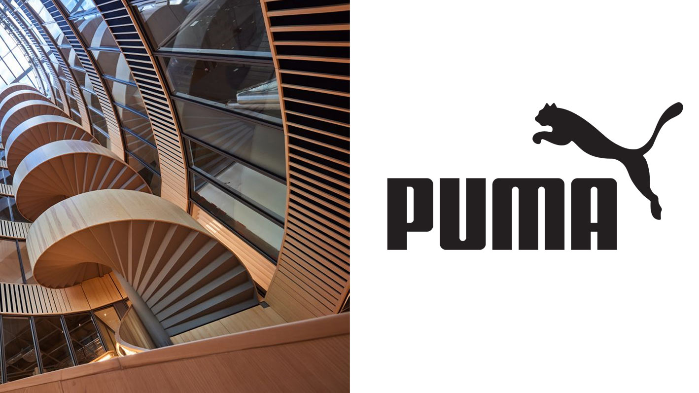 Montagebild på K11:s spiraltrappa och logotyp för Puma.