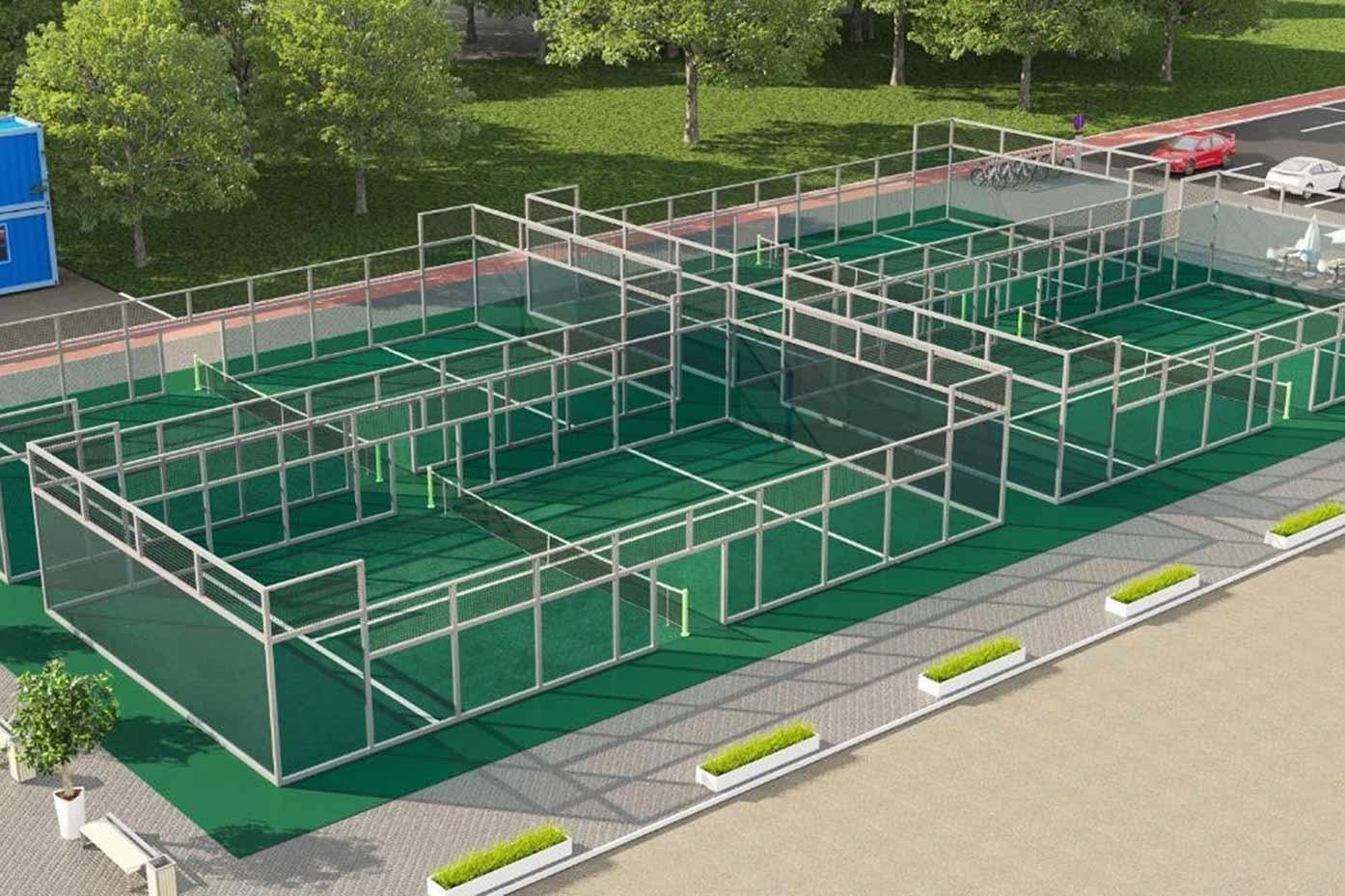 Illustration på hur padelbanan vid NCC:s etablering kommer att se ut.